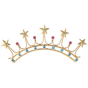 Crown for Statues in Gold Plated Filigree with Color Stones s1