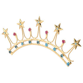 Crown for Statues in Gold Plated Filigree with Color Stones s3