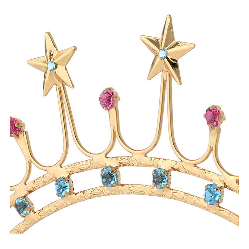 Crown for statues in gold plated filigree and color stones 2