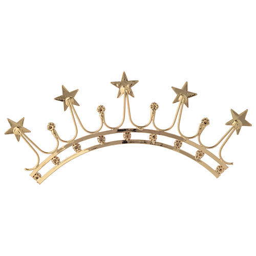 Crown for statues in gold plated filigree and color stones 5