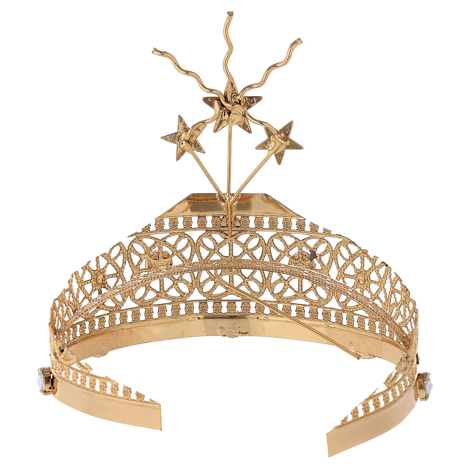 Tiara for statues in gold-plated filigree and color stones 3