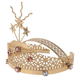 Tiara for statues in gold-plated filigree and color stones s3