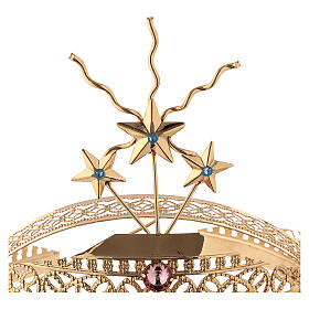 Tiara for statues in gold-plated filigree and color stones s4