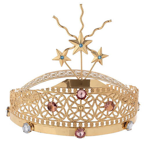 Tiara for statues in gold-plated filigree and color stones 1