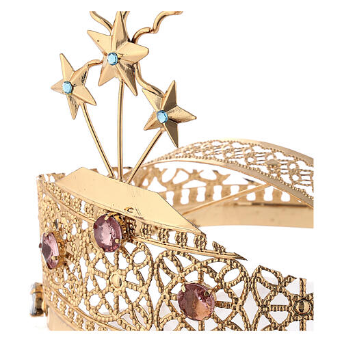 Tiara for statues in gold-plated filigree and color stones 2