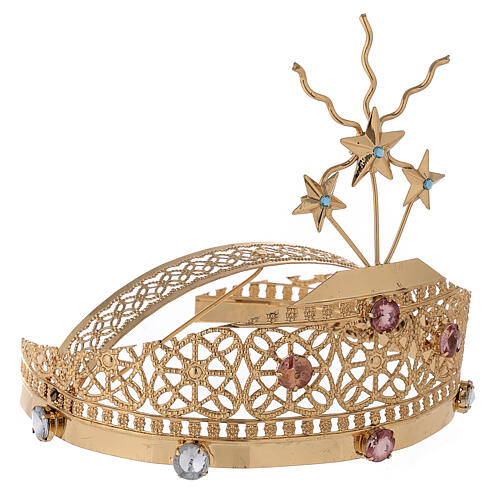 Tiara for statues in gold-plated filigree and color stones 5