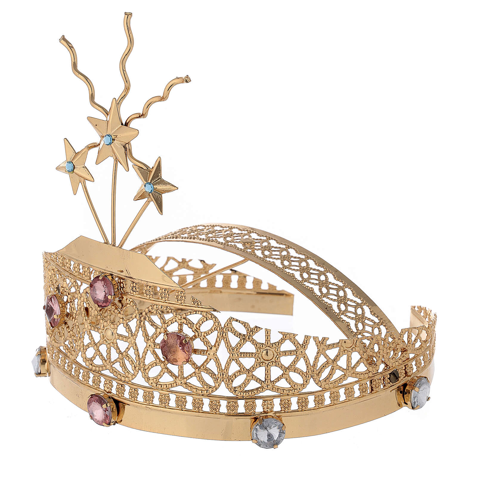Tiara for Statues in Gold-Plated Filigree and Colored Stones 3