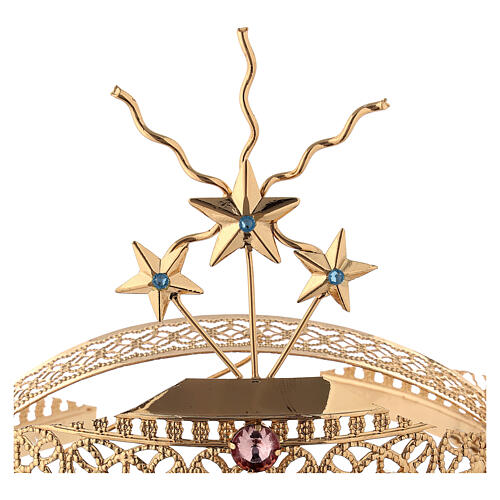 Tiara for Statues in Gold-Plated Filigree and Colored Stones 4