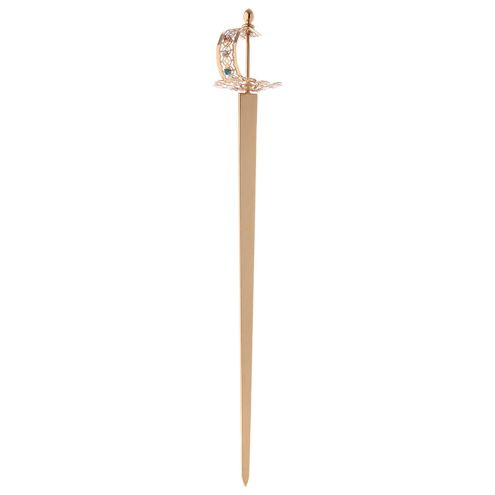 Épée laiton filigrane or pour statues 3
