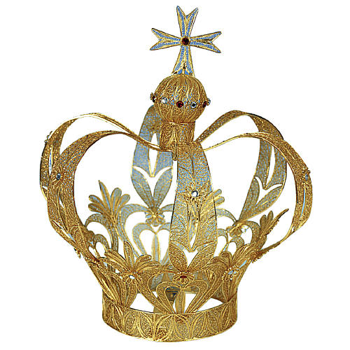 Imperial Crown for statues in 800 silver filigree 25 cm h 1