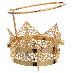 Crown with halo in brass and strass, 6 cm s1