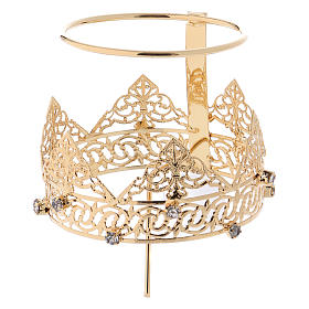 Crown with halo in brass and strass, 6 cm s4