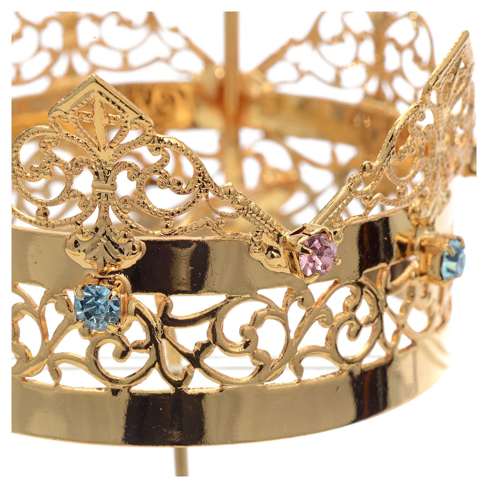 Corona con aureola latón strass 6 cm 3