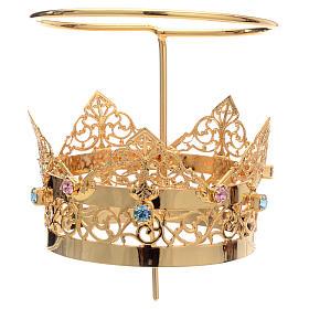 Corona con aureola latón strass 6 cm s2