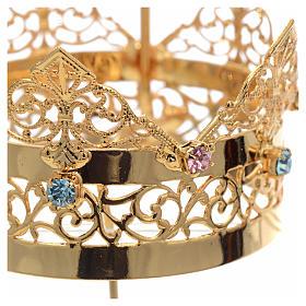Corona con aureola ottone e strass 6 cm s3