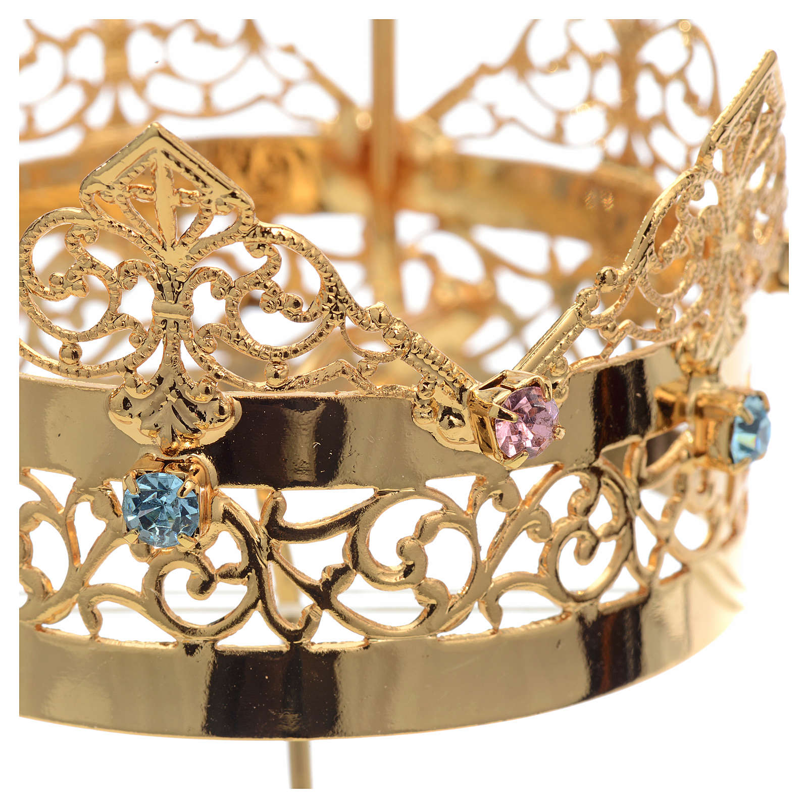 Crown with halo in brass and strass, 6 cm 3