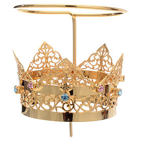 Crown with halo in brass and strass, 6 cm s2
