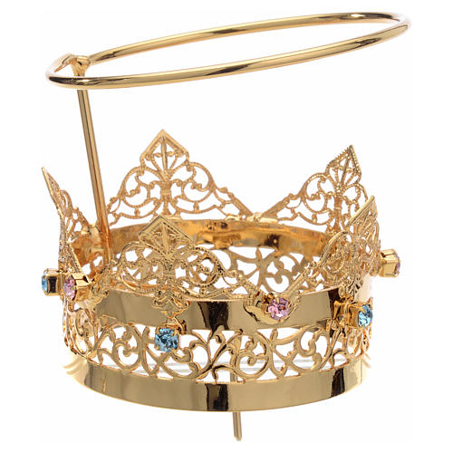 Crown with halo in brass and strass, 6 cm 1