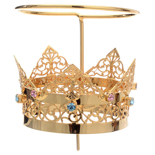 Crown with halo in brass and strass, 6 cm 2