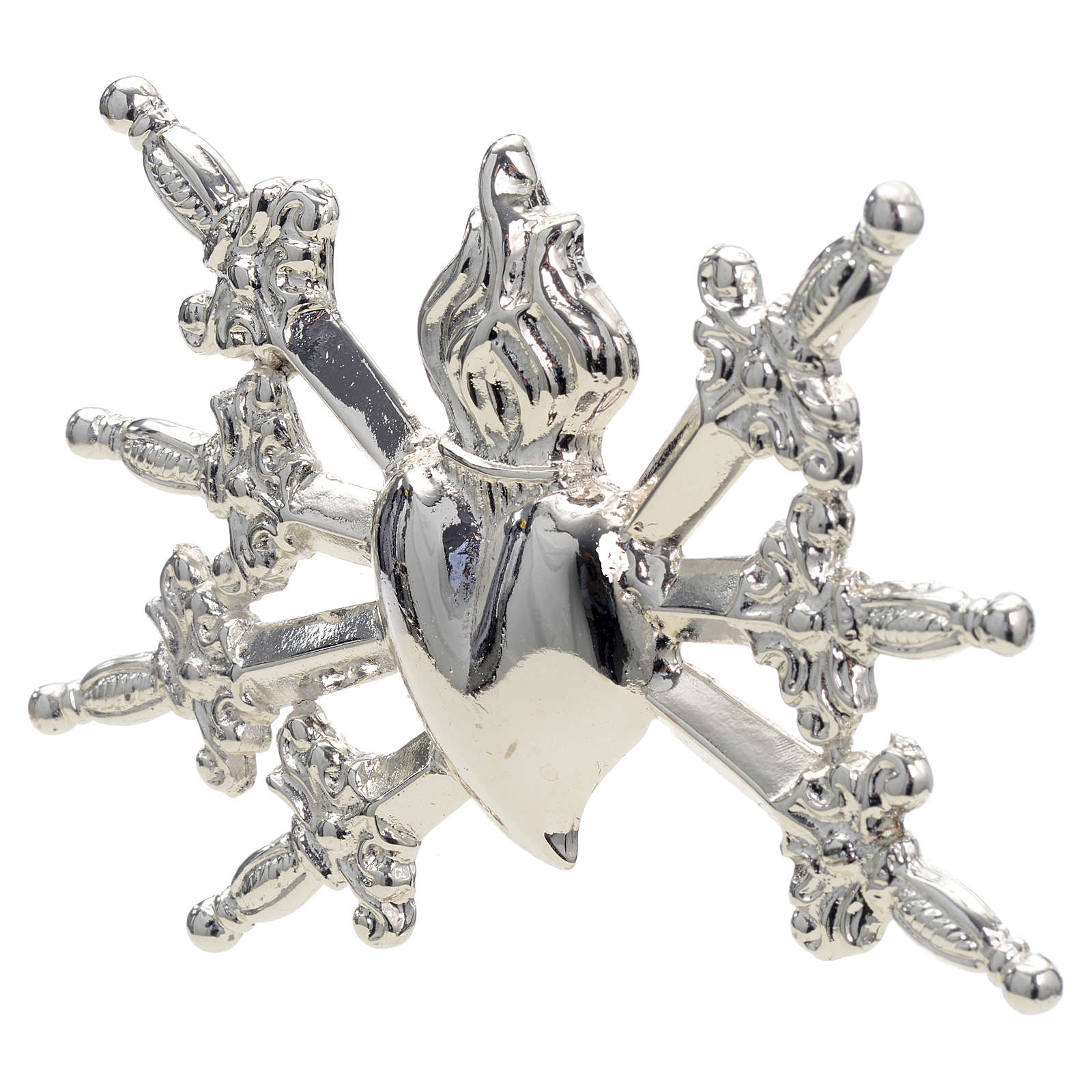 Heart with swords in silver-plated brass, 10cm 3
