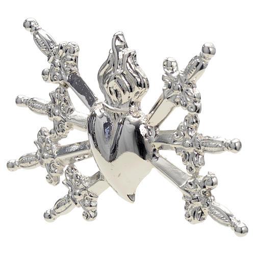 Coeur avec 7 épées en laiton argenté 10 cm 2
