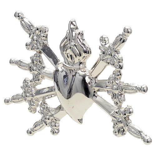 Heart with swords in silver-plated brass, 10cm 2