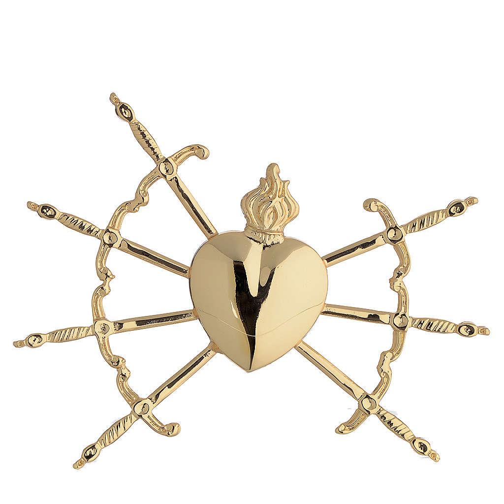 Corazón con 7 espada latón dorado 16 cm 3