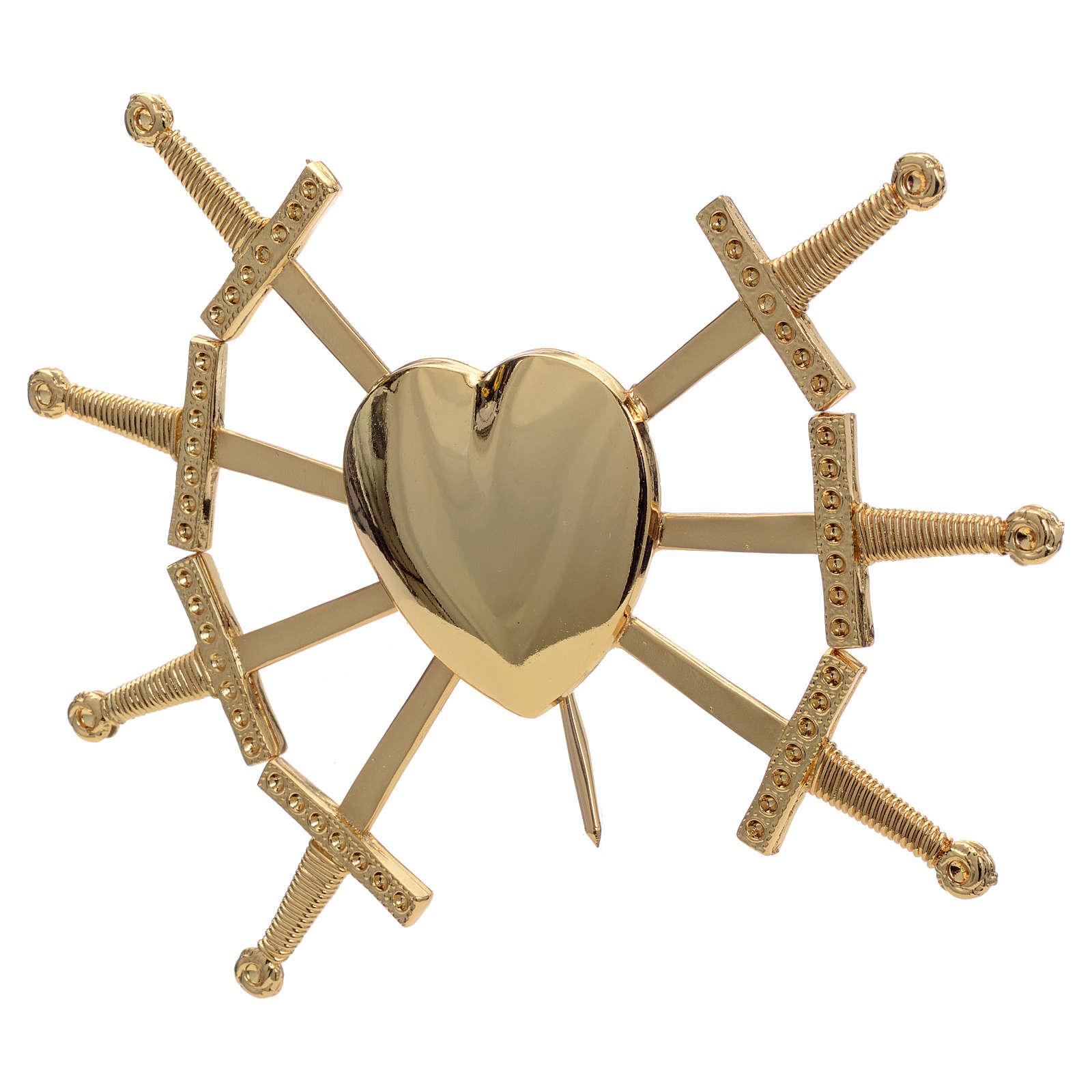 Cuore con 7 spade ottone dorato 16 cm 3
