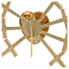 Heart with 7 swords in gold-plated brass, 16cm s5