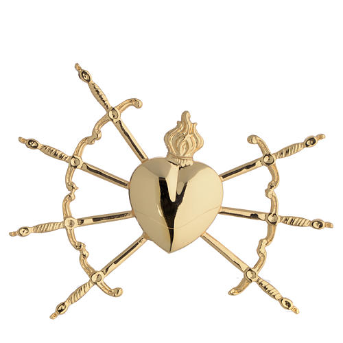 Heart with 7 swords in gold-plated brass, 16cm 7