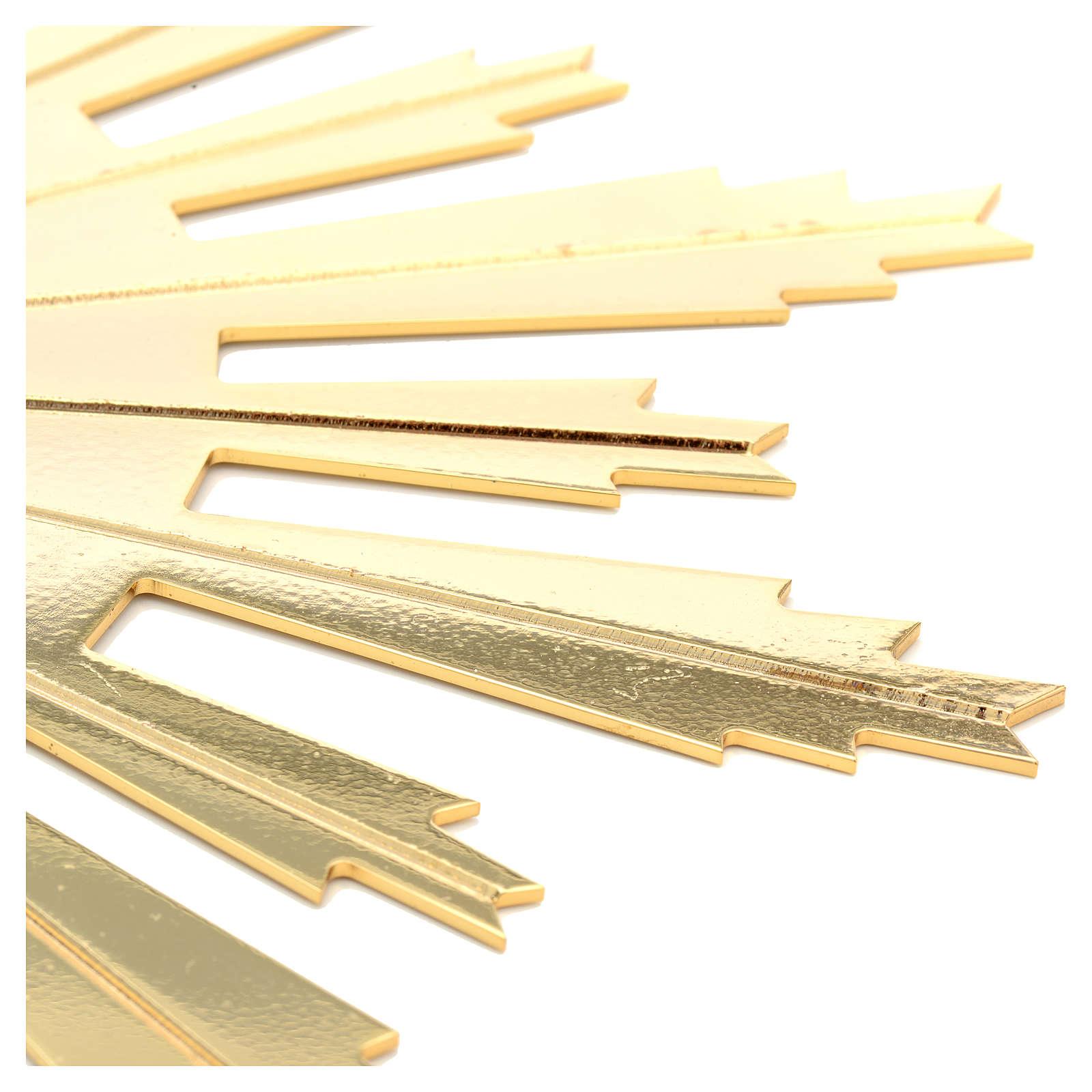 Raggiera ottone dorato raggi incisi 25 cm 3