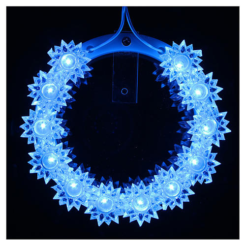 Plexiglas luminous halo with flowers and light blue LED 2