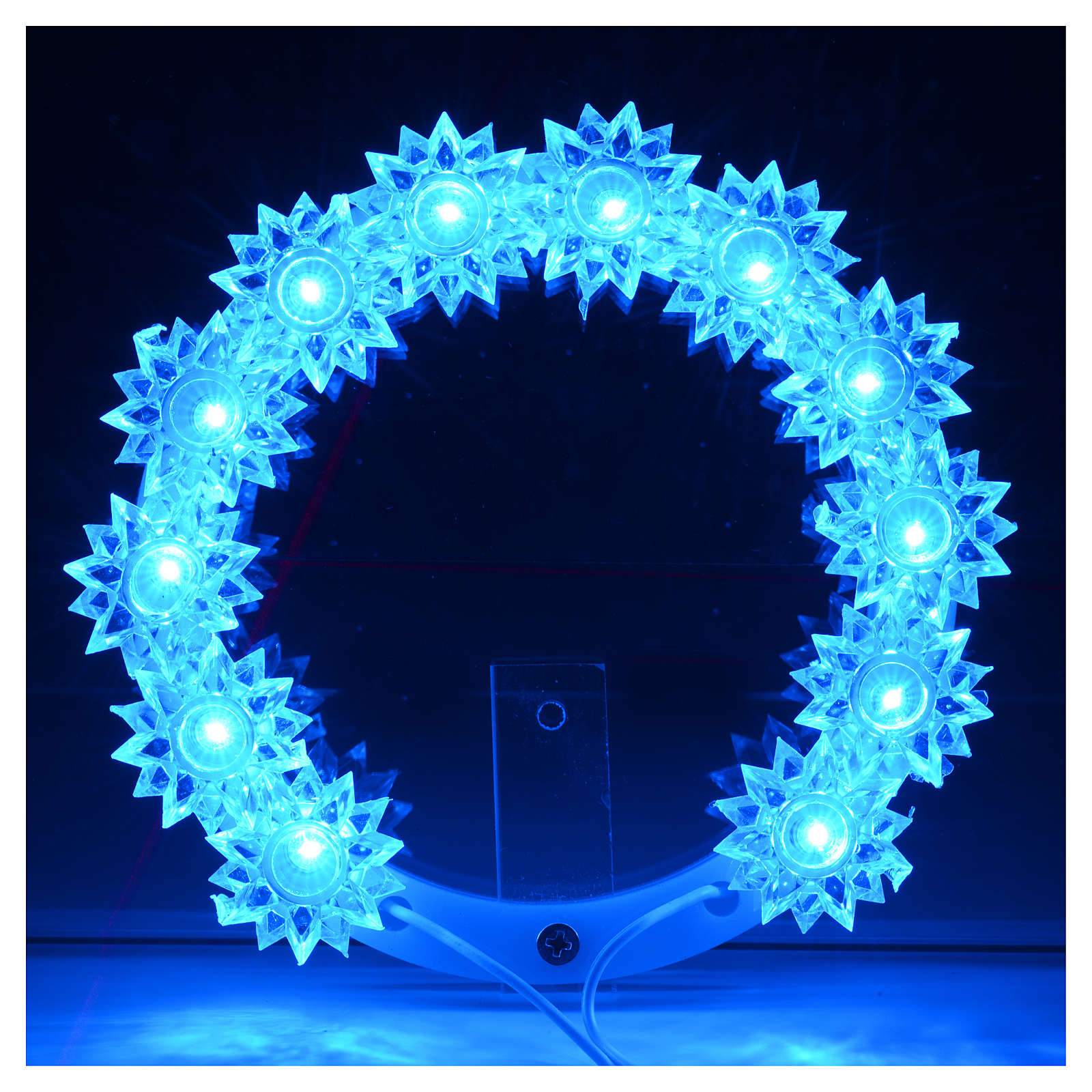 Auréole lumineuse en plexiglas fleurs leds bleus 10 cm 3
