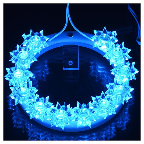 Auréole lumineuse en plexiglas fleurs leds bleus 10 cm 10