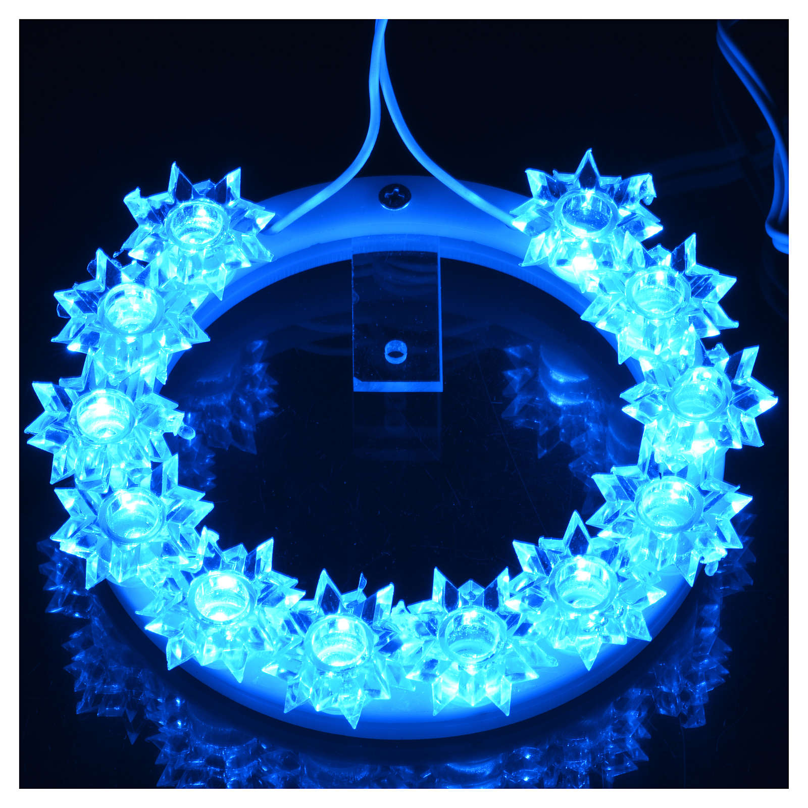Aureola z plexiglassu podświetlana Kwiaty led błękitne 10 cm 3