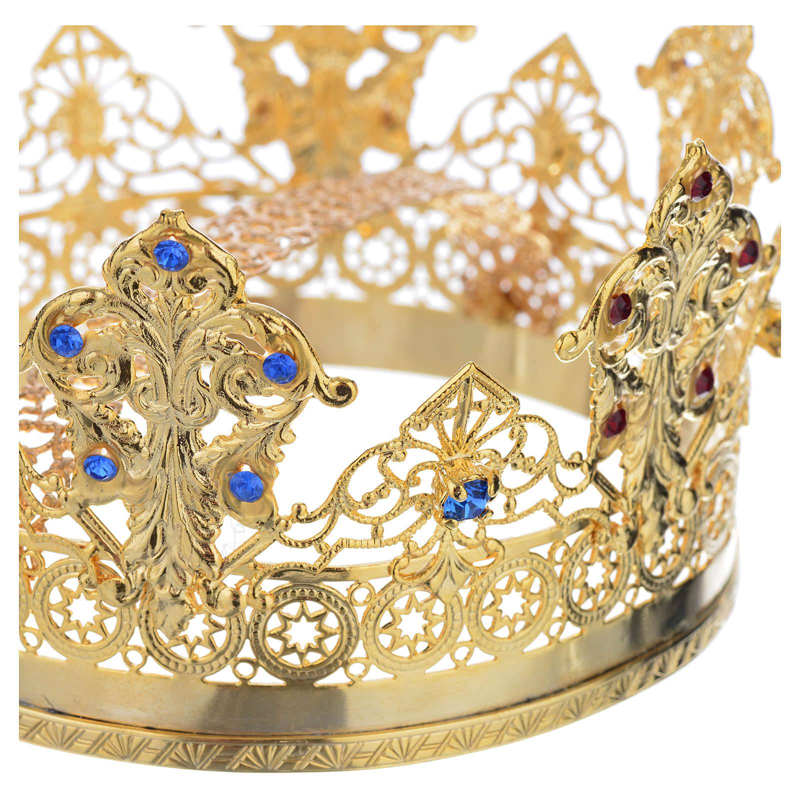 Crown in gold plated with blue and red strass 3