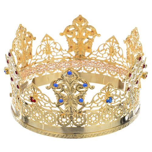 Crown in gold plated with blue and red strass 1