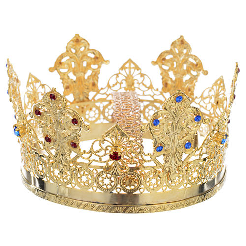 Crown in gold plated with blue and red strass 2