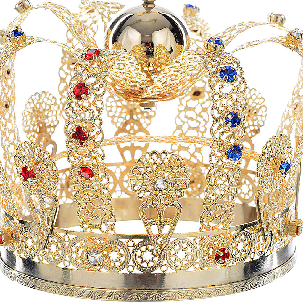 Crown in gold plated brass and strass 3