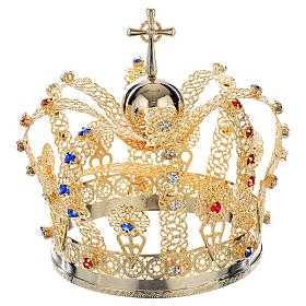 Crown in gold plated brass and strass s3