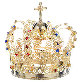 Crown in gold plated brass and strass s4