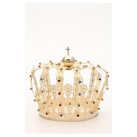 Crown in gold plated brass and strass s7