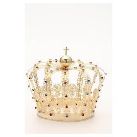 Crown in gold plated brass and strass s8