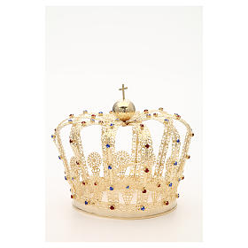 Crown in gold plated brass and strass s9