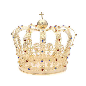 Crown in gold plated brass and strass s1