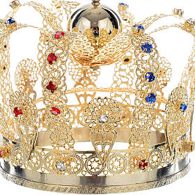 Crown in gold plated brass and strass s2