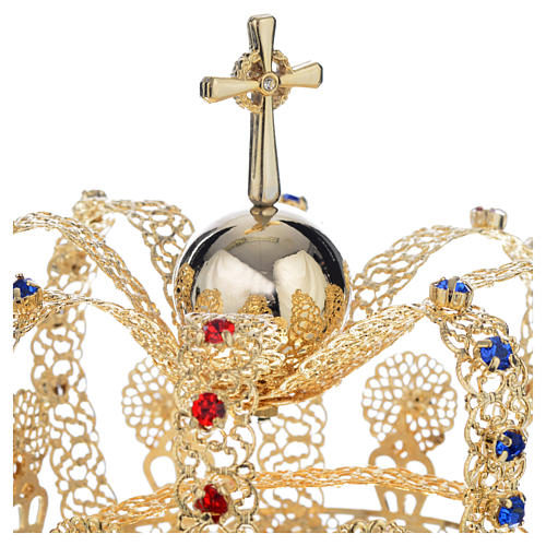 Crown in gold plated brass and strass 5