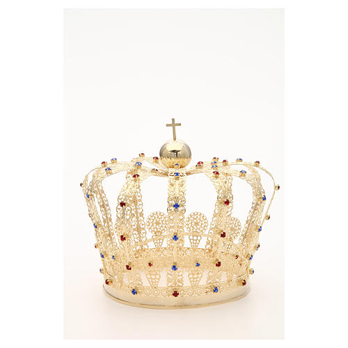 Crown in gold plated brass and strass 6