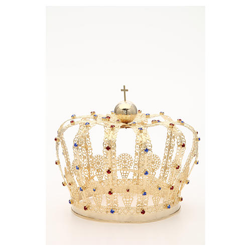 Crown in gold plated brass and strass 7