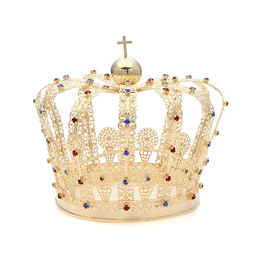 Crown in gold plated brass and strass 1